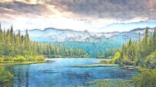 mountains-lake
